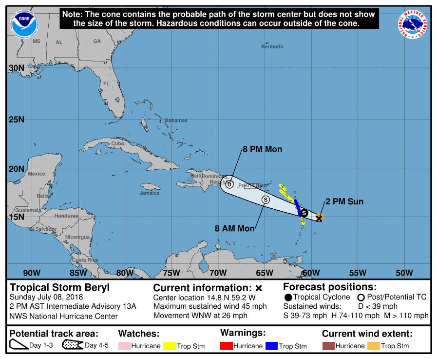 Weather Service Posts Flood Alert For V.I. as Beryl Approaches ...