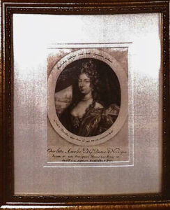 A 1690s mezzotint of Queen Charlotte Amalie previously documented to be at Government House on St. Thomas.