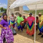 Allegra Christopher leads seniors in Bamboula moves.