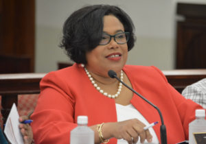 Beverly Nicholson-Doty testifies Monday before the Senate Finance Committee.