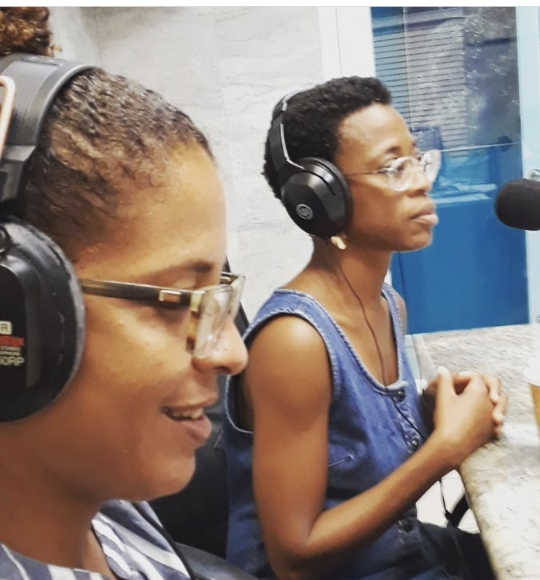 Sayeeda Carter and Regina Keels talk about their show, 'Silence Speaks, Secrets Revealed,' on a St. Croix radio show. (Photo submitted by Sayeeda Carter)