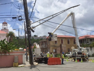 A DPW crew works on an intersection on St. Thomas.