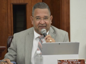 Sen. Jean Forde, sponsor of the pay raise bill, at Monday's hearing. (Photo by Barry Leerdam, V.I. Legislature)