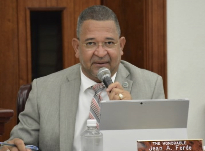 Sen. Jean Forde, sponsor of the pay raise bill, at Monday's hearing. (Photo by Barry Leerdam, V.I. Legislature)