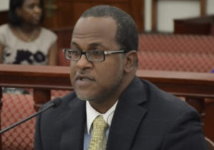 Budget Director Julio Rhymer at Monday's hearing. (Photo by Barry Leerdam, V.I. Legislature)