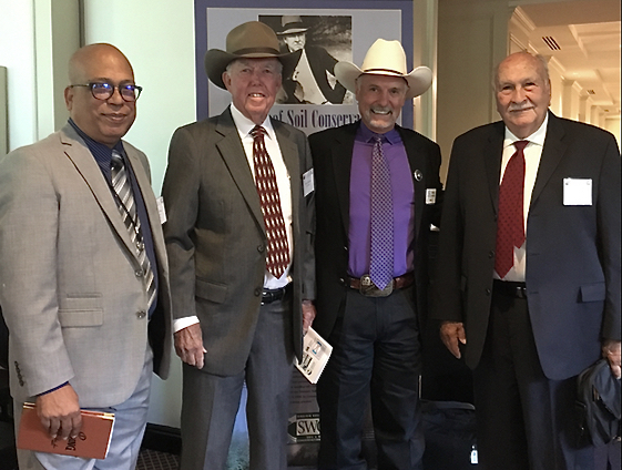 From left: USDA-NRCS Caribbean Programs Specialist Manuel Rios; Virgin Islands Conservation District inductee Hans Lawaetz; NACD President Brent Van Dyke, and Suroeste Conservation District inductee, José B. Ramírez. (USDA-NRCS photo)