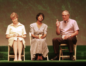 Michelle Greene, center, in a scene from the CCT production of Alan Aycbourn's 'Woman in Mind.' (CCT photo)