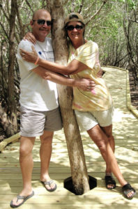 John and Cristina Kessler tree hug on the Francis Boardwalk. (Family photo)