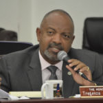 Sen. Tregenza Roach questions Gov. Mapp's finance team. (Photo by Barry Leerdam, V.I. Legislature)