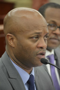 Finance Commissioner Valdamier Collens testifies. (Photo by Barry Leerdam, V.I. Legislature)