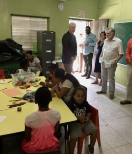 Clinton visits a classroom at the Gifft Hill School. (Amy Roberts photo)