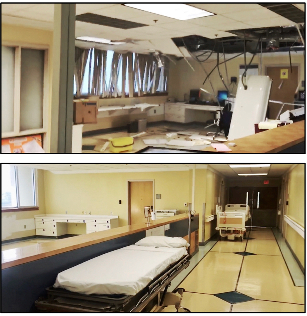 SRMC Adult Medical Unit, on Sep. 6, 2017, the night of Hurricane Irma. Bottom: The same unit in August 2018.