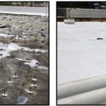 Left: The SRMC roof being repaired on Sep. 4, 2017; Right: SRMC roof, July 2018.