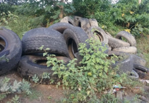 The territory's landfills contain an estimated 600,000 used tires.