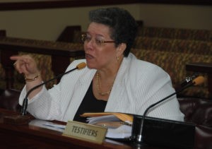Former Casino Control Commission Chairwoman Violet Ann Golden testifies as chairwoman before the Senate in 2015. (File photo by Barry Leerdam, the V.I. Legislature)