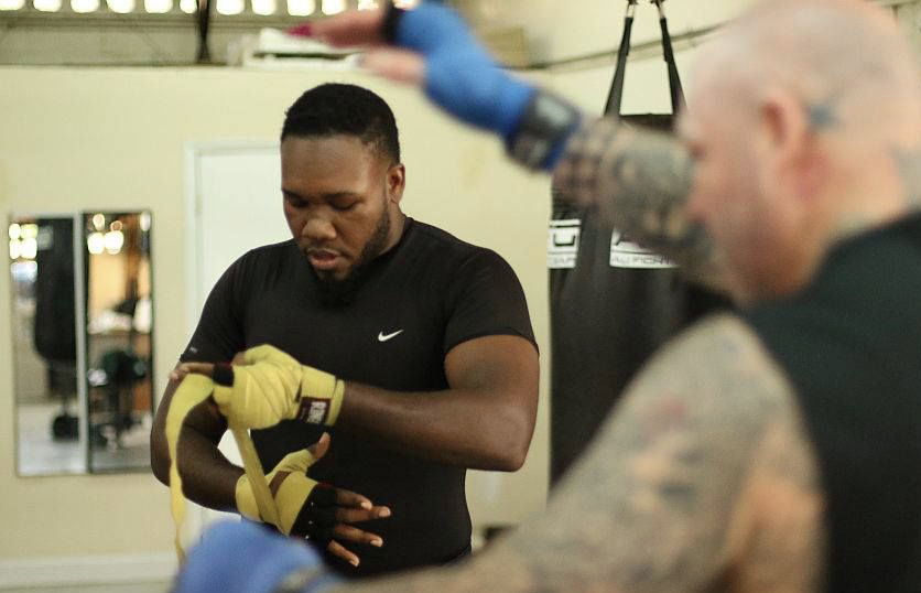 Clayton Laurent, Jr. preps last year for his pro debut. He will make his second pro fight Saturday in Brooklyn.