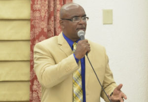 Sen. Dwayne DeGraff (D-STT) speaks at Friday's session. (Photo by Barry Leerdam, V.I. Legislature)