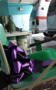 A memorial ribbon sits in the chair where ambulance boat driver Liston Sprauve awaited the call to duty each day until his death on Aug. 29.