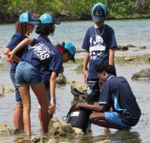 Mentor Amaziah George take students Kadejsha Tonge, Trevett Williams, Mireille Boumedine, Genai Ravalier on a Shoreline Trek to examine the species that live there. (Submitted photo)