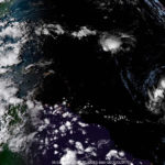 In this satellite photo taken at 6 p.m. AST, three storm systems, Florence, Issac and Helene are developing and moving west. (NOAA satellite photo.