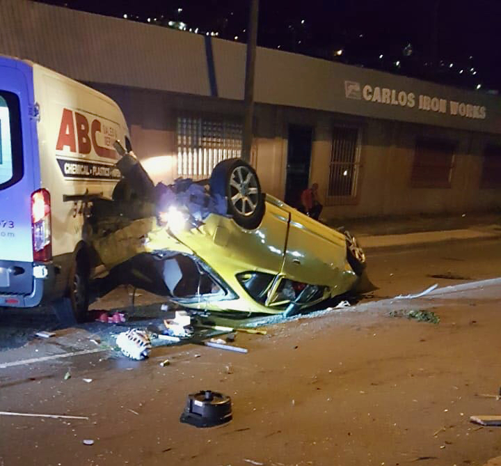 A collision Tuesday night on Krum Bay Road between a commercial van and a passenger car left the driver of the car dead. (Photo supplied by the V.I. Police Department)