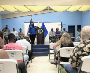 Gov. Mapp speaks to St. John residents Tuesday evening.