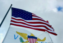 Virgin Islands flag with flag of the United States of America