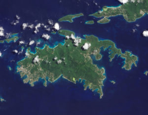 St. John from satellite. 'Everything looks simpler from 35,000 feet.' Frank Schneiger.