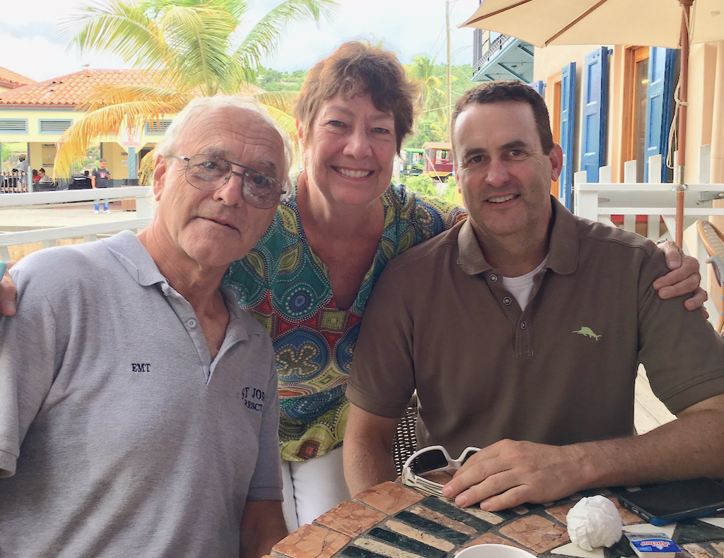 From left, Bob Malacarne, Cid Hamling, and Stowell Burnham take time for a picture after sharing a meal Sunday in Cruz Bay.