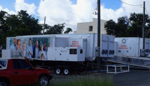 Temporary dialysis units on the south side of the Juan F. Luis Memorial Hospital.