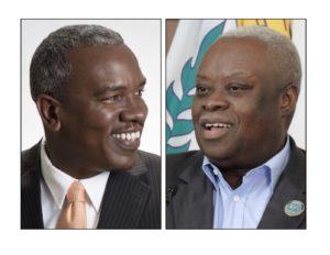 Democratic gubernatorial candidate Albert Bryan and independent incumbent Gov. Kenneth Mapp.