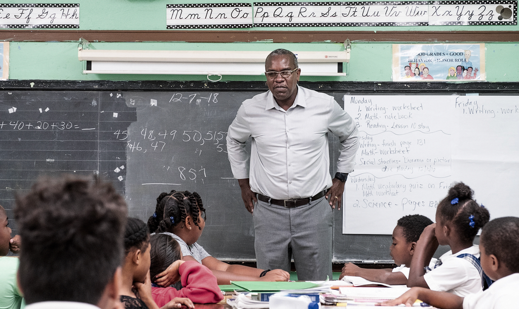 Governor-elect Albert Bryan Jr. visits students at the Claude O. Markoe Elementary School in Frederiksted Friday. (Photo from the office of Governor-elect Albert Bryan)