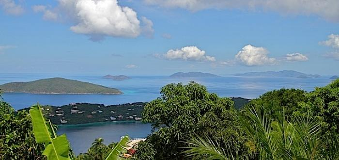 A down-island view from the the north side of St. Thomas. (Photo by Tom Kaestner)