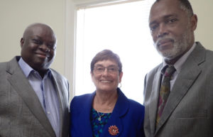 Gov. Kenneth Mapp with new PFA trustees Dorothy Isaac and Jackwrel Wallace.