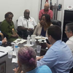 Delegate to Congress Stacey Plaskett (D-VI) met with the Veterans Affairs Administration and local veterans service organizations in her St. Thomas office Monday. (Photo from Delegate Stacey Plaskett's office)