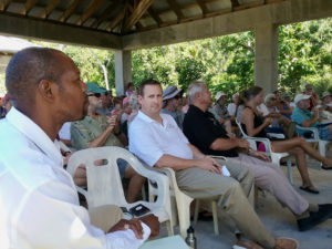 New V.I. National Park Superintendent Nigel Fields, left, and new Friends of the V.I. National Park President Todd Sampsell wait for their introduction to members of the Friends at the group's annual meeting Sunday at Trunk Bay beach pavilion.