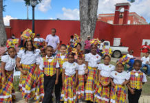 Quadrille dancers from Alfredo Andrews Elementary School were on hand to perform for Martin Luther King Day in Frederiksted. (Melody Rames photo)