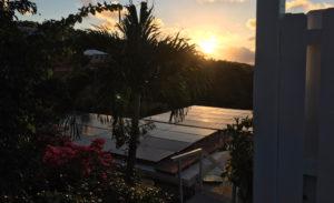 Solar panels soak up the last of the day's sunlight on St. John.