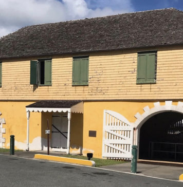 The front of the historic Scale House in Christiansted shows wear and tear. (Elisa McKay photo)