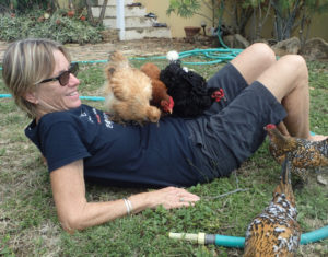 When she's not attending movie premieres, Toni Lance enjoys the company of her chickens. (Susan Ellis photo)