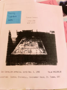 A photocopy of an archive page with a photo of the missing 17th century Flemish tapestry and the note, 'During Turnbull Adm.' (Image courtesy of Julio Encarnacion)