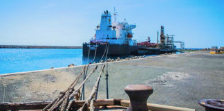 A ship moored at Limetree. (Government House photo)