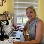 Apple Gidley at work on her next novel, as yet untitled, (Anne Salafia photo)