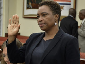 Carol Thomas-Jacobs, the acting attorney general, testifies at Wednesday's hearing. (Photo by Barry Leerdam, Legislature of the Virgin Islands.)