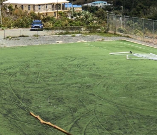 Vandalaism at the athletic field at Gifft Hill School included destruction of soccer goals and tire marks tearing up the grass. (Photo from GoFundMe.com)