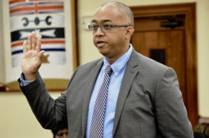 BIR Director nominee Joel Lee testifies before the Senate Rules and Judiciary Committee on Thursday. (Barry Leerdam photo for USVI Legislature)