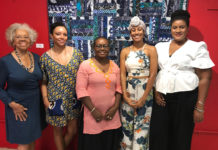 Artists involved in the 'Fabric of Caribbean Consciousness' exhibition, from left, Elisa McKay,Danielle Kearns, Niarus Walker, Suenita Banwaree, Chalana Brown.