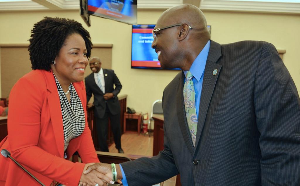 Viya CEO Geraldine Pitt, left, shakes hands with Sen. Novelle Francis (D-STX) at Thurday's hearing. (Photo by Barry Leerdam for the V.I. Legislature)