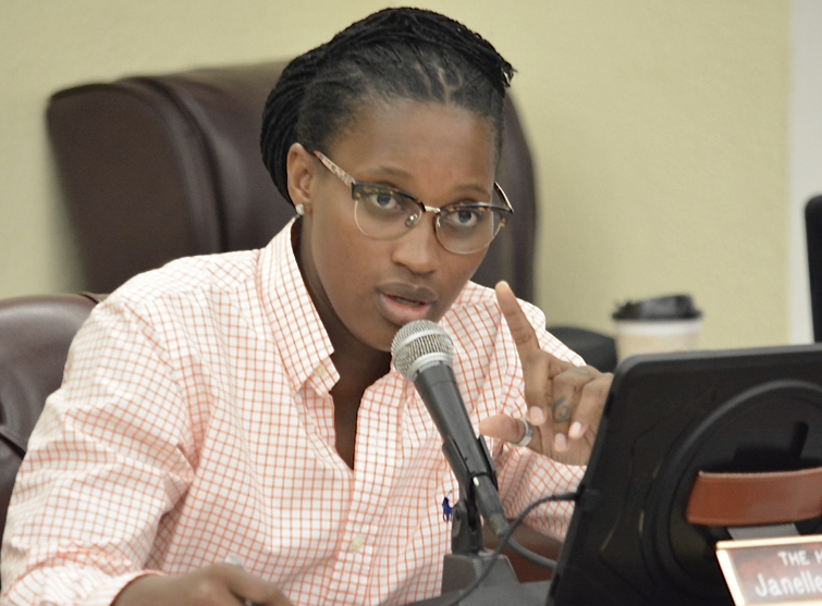 Sen. Janelle Sarauw reminds her colleagues why the 32nd Legislature upended the old carnival board system in the first place. (Photo by Barry Leerdam for the V.I. Legislature)