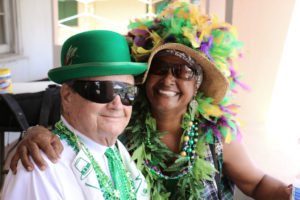 Parade Grand Marshall Billy Gibbon, who helped organize the original St. Croix St. Patrick's Day Parade, and Chandra Henderson. Linda Morland photo)